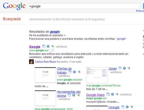 Cambios en Google eliminan el + de la búsqueda 1